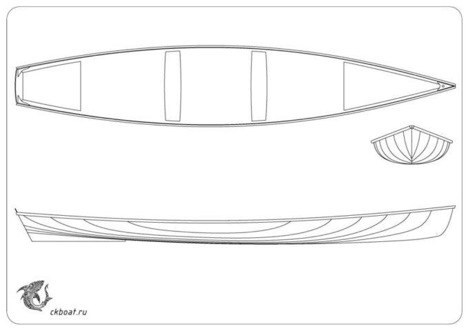 чертеж гребной лодки
