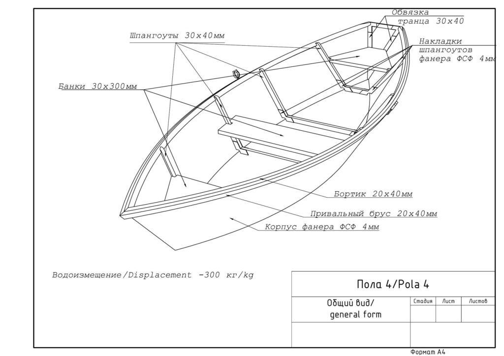 Фанерная лодка Пола общий вид