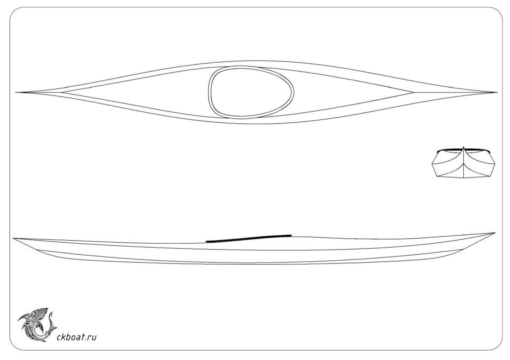 Фанерный каяк Лиса общий вид чертеж