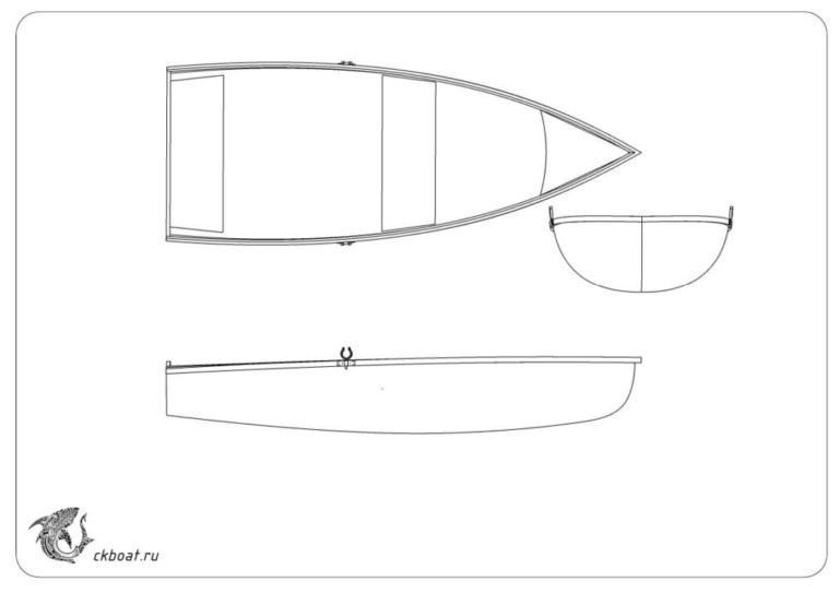 Гребная лодка чертеж