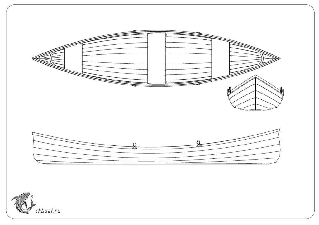 Чертеж лодки Адирондак. Общий вид