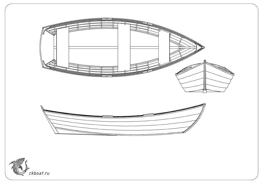 """Чертеж деревянной лодки """"Skiff"""""""