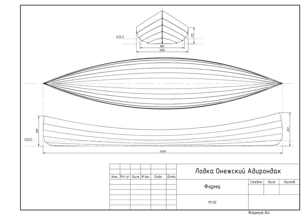 Размеры лодки Адирондак
