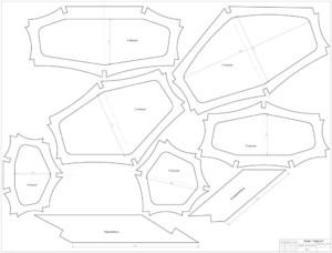 Выкройки секций в формате PDF, чертеж морского каяка