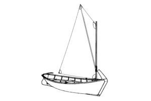 Деревянная лодка Салма с парусом