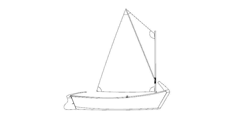 Лодка Салма с парусом
