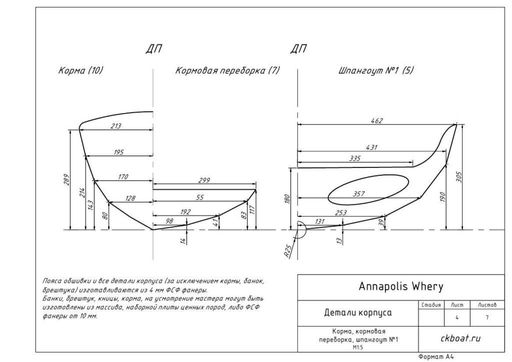 фанерная лодка, чертеж деталей