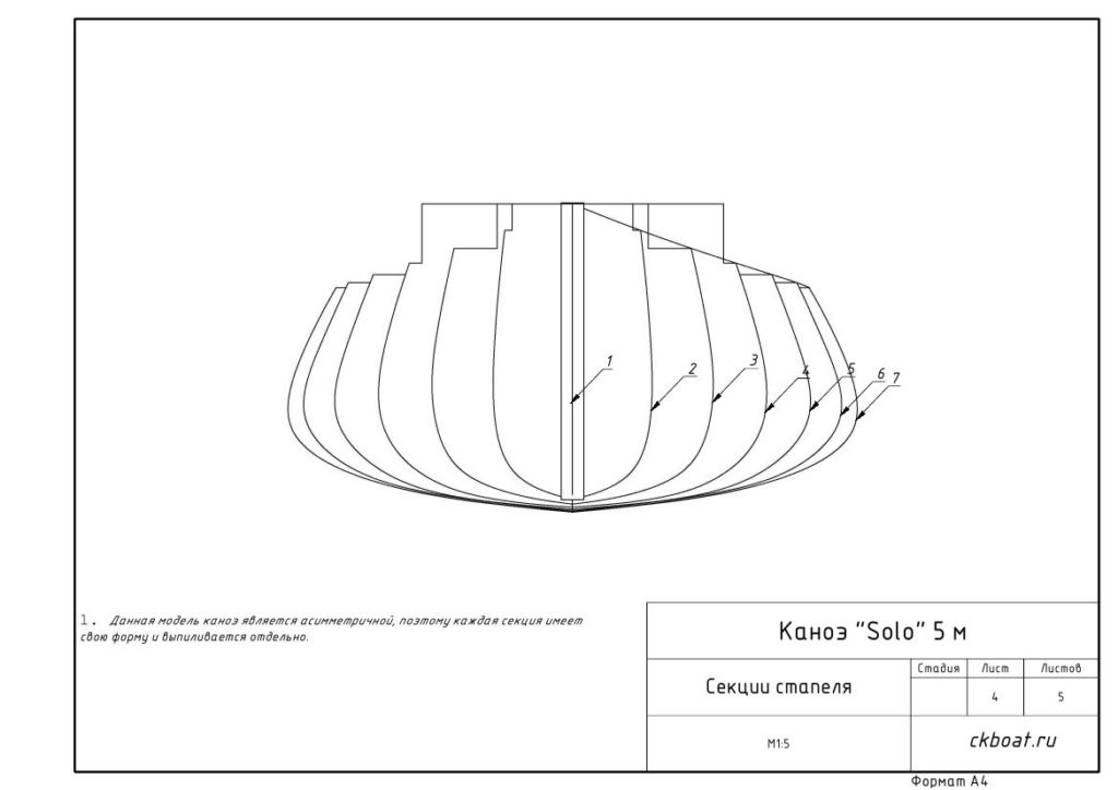 Деревянное каноэ секции стапеля