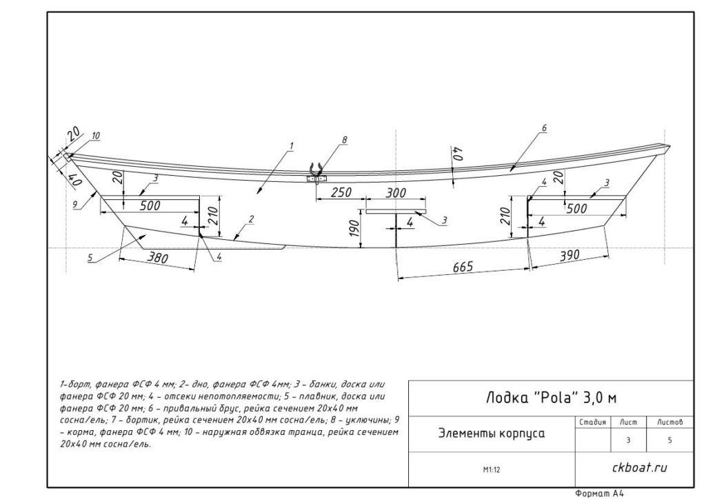чертеж деталей корпуса фанерной лодки