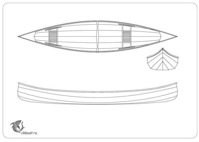 выкройка каноэ из фанеры, чертеж