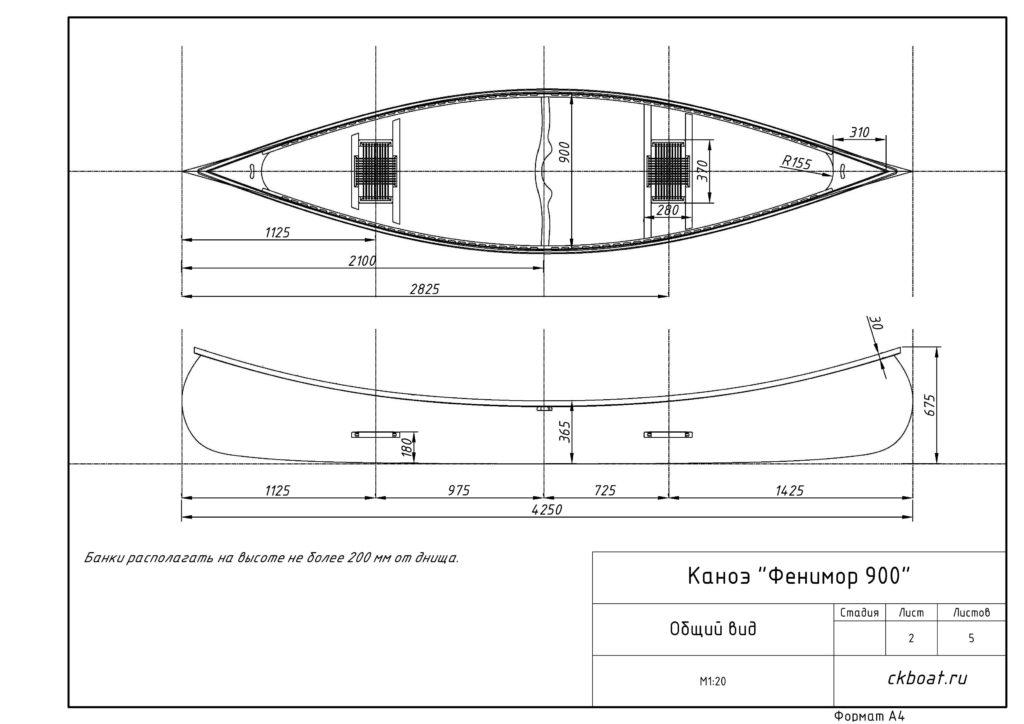 каноэ Фенимор 900 размеры