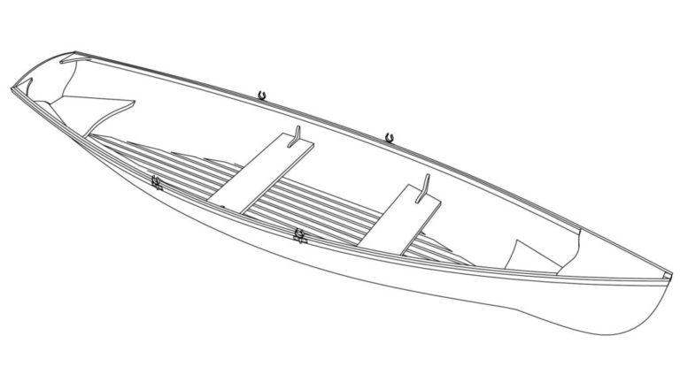 Эскиз лодки из рейки